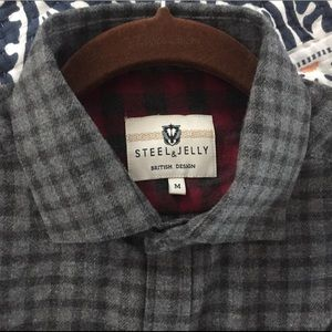 Other - Steel and Jelly flannel gray plaid button-up shirt